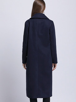 Notched Long Sleeve Knee-length Peacoat