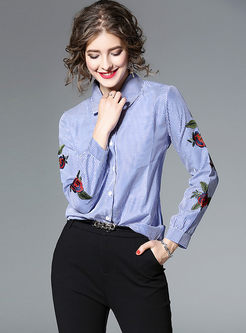 Striped Embroidery Lapel Long Sleeve Blouse