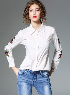 Lapel Embroidered Long Sleeve Blouse