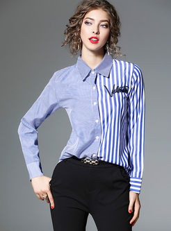 Blue Striped Stitching Long Sleeve Blouse