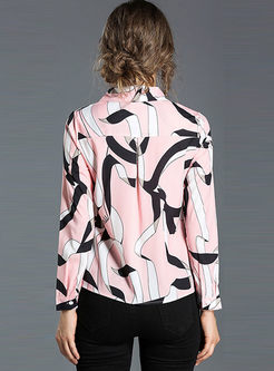 Pink Brief Print Long Sleeve Blouse