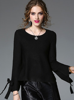 Black Brief O-neck Pullover Sweatshirt