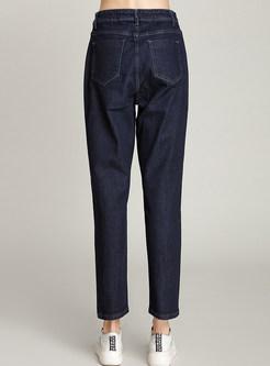 Casual Deep Blue Denim Harem Pants