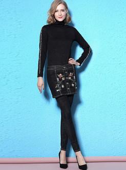 Stylish Embroidery False Two-piece Denim Leggings