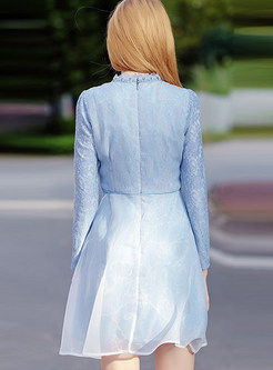 Sweet Stand Collar Lace Gathered Waist Skater Dress