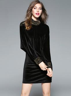 Black Beaded Bat Sleeve Bodycon Dress