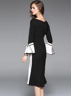 Elegant Monochrome Flare Sleeve Mermaid Dress