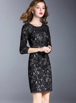 Black Sexy Lace Hollow Out Embroidery Bodycon Dress