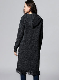 Deep Grey Tassel Hooded Knitted Coat