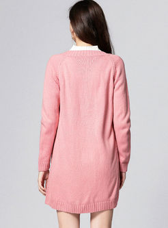 Pink Long Sleeve Knitted Coat