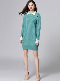 Cute Turn Down Collar Knitted Dress