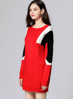 Casual Color-blocked Long Sleeve Knitted Dress
