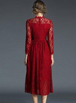 Wine Red Falbala Lace Big Hem A-line Dress