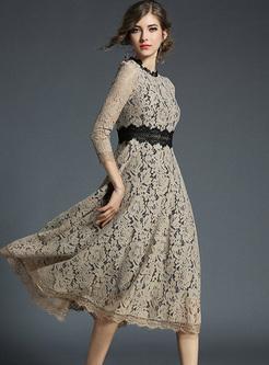 Chic Lace Color-blocked A-line Dress