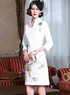 Vintage V-neck Stereoscopic Flower Bodycon Dress