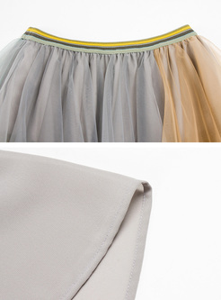 Chic Multicolor Asymmetric Layered Skirt