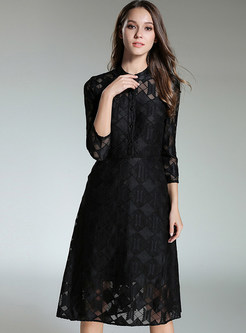 d2eb652e57df Black Brief Lace Stand Collar Skater Dress ...