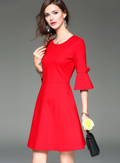 Red Flare Sleeve Cotton A-line Dress