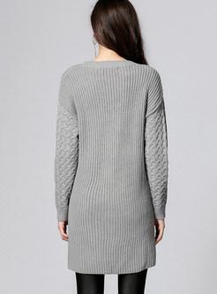 Grey Casual V-neck Split Sweater