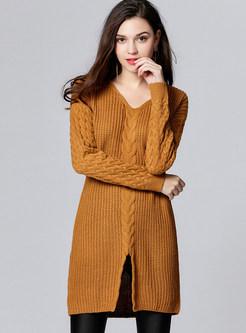 Camel Casual V-neck Split Sweater