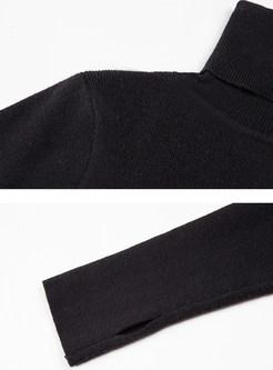 Brief Black High Neck Slim Sweater