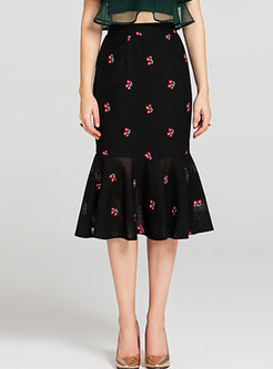 Elegant Embroidery Mermaid Lace Skirt