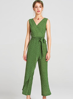Stylish Dot Asymmetric V-neck Jumpsuits