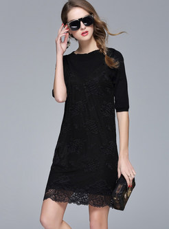 Black Half Sleeve Pullover T-shirt & Sexy Lace Suspender Dress