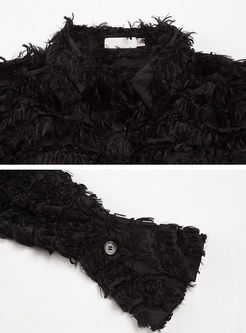 Black V-neck Feather Embroidery Coat With Belt