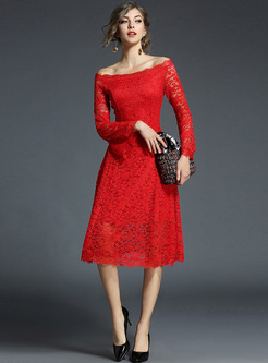 Red Elegant Lace Slash Neck A-line Dress