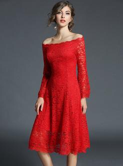 Red Elegant Lace Slash Neck A-line Dress
