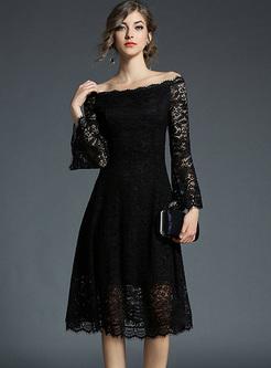 Black Elegant Lace Slash Neck A-line Dress