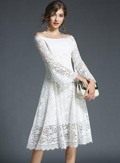 Elegant Lace Slash Neck A-line Dress