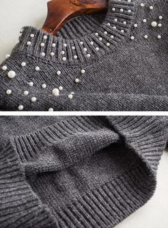 Grey Lantern Sleeve Beaded Sweater