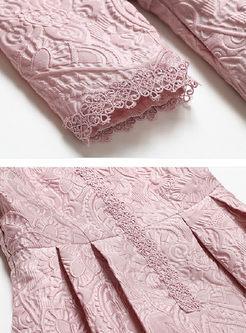 Pink Jacquard Three Quarters Sleeve Lace Skater Dress