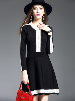 Brief Striped Hit Color Long Sleeve Knitted Dress