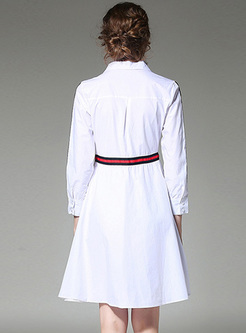 Elegant Lapel Rose Embroidery Skater Dress