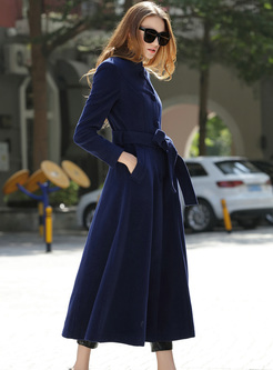 Mock Neck Single-breasted Long Wool Coat