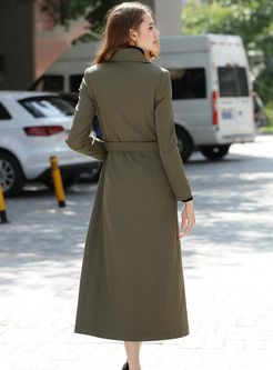 Lapel Single-breasted Long Trench Coat
