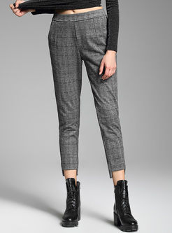 Brief Grid Thicken Pencil Pants