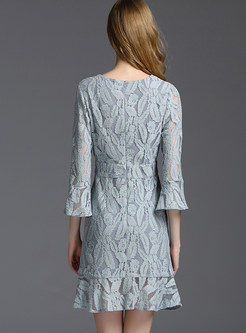 Sexy V-neck Lace Flare Sleeve A-line Mermaid Dress