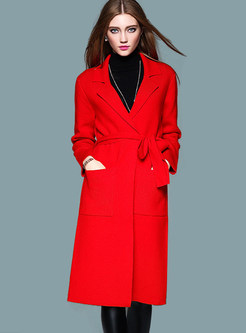 Work Turn Down Collar Belted Knitted Coat