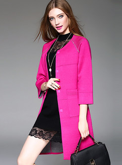 Fashionable O-neck Three Quarters Sleeve Knitted Coat