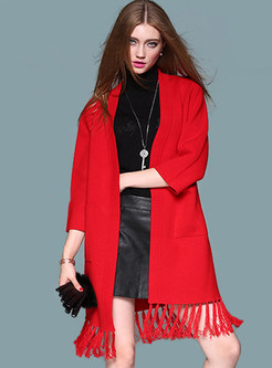 Chic Tassels Splicing Knitted Coat