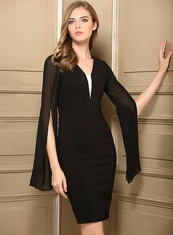 e9b4f94517 ... Sexy V-neck Split Flare Sleeve Bodycon Dress ...