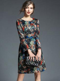 Vintage Floral Print A-line Dress