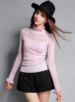 Light Purple Falbala Neck Slim Sweater
