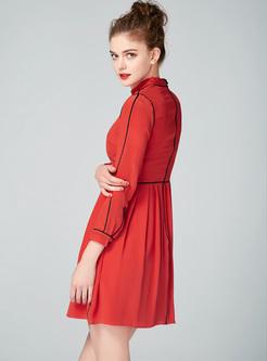 Red O-neck Mini A-line Dress