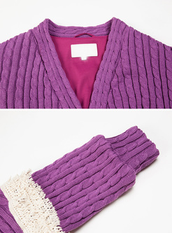 Purple Lantern Sleeve Tassel Knitted Coat