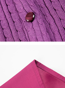 Purple Lantern Sleeve Tassel Sweater Coat